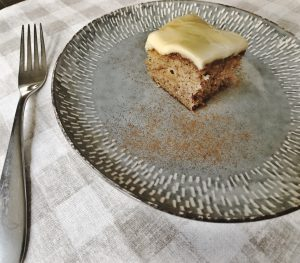 piece of apple cake on plate