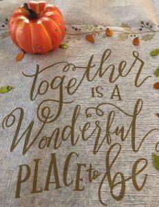 Pumpkin on table cloth
