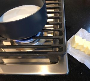 Milk in a saucepan on stove top