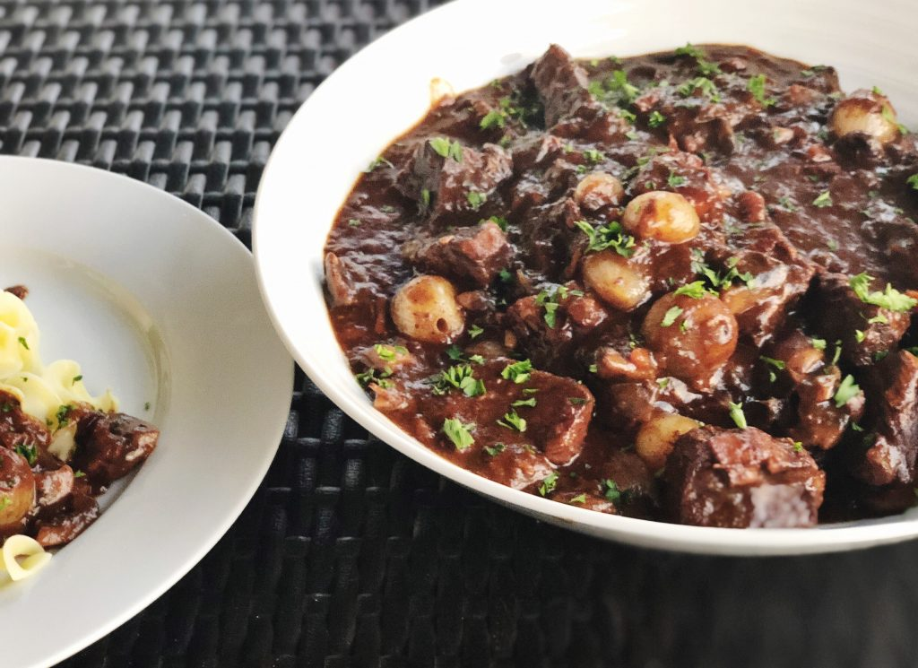 Bowl of Beef Bourguignon on Table