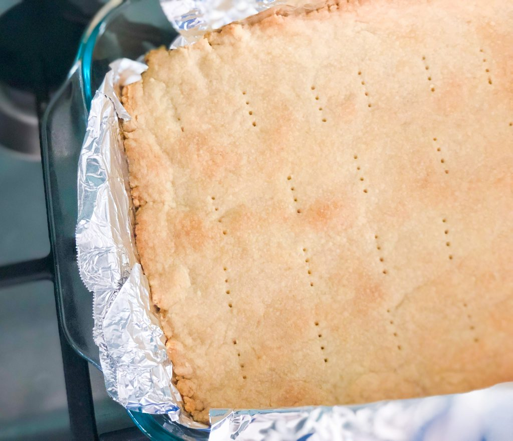 Cooked shortbread in baking pan
