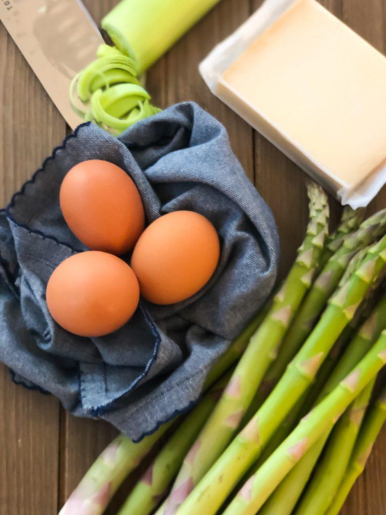 Eggs, Leeks, Cheese and Asparagus