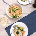 Chicken Broccoli Rigatoni in White Wine Sauce