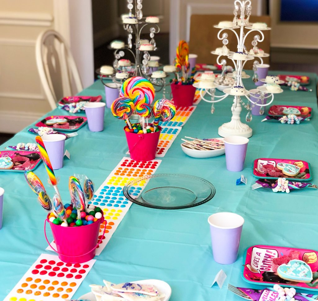 Table setting for Vanellope birthday party
