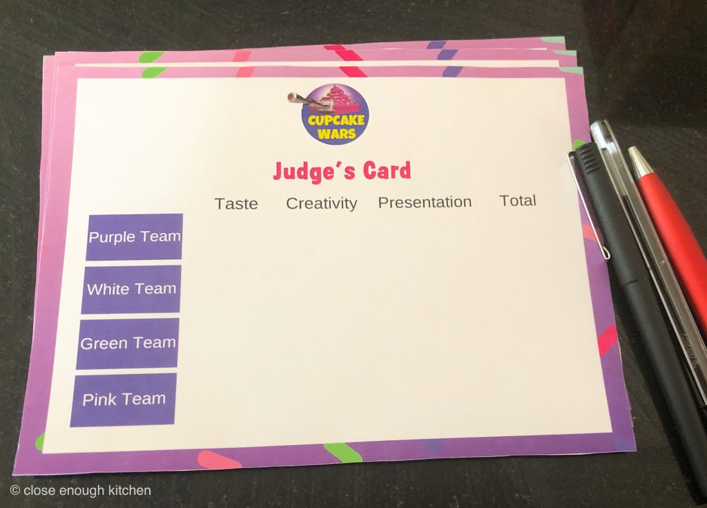Cupcake Wars Judging Card