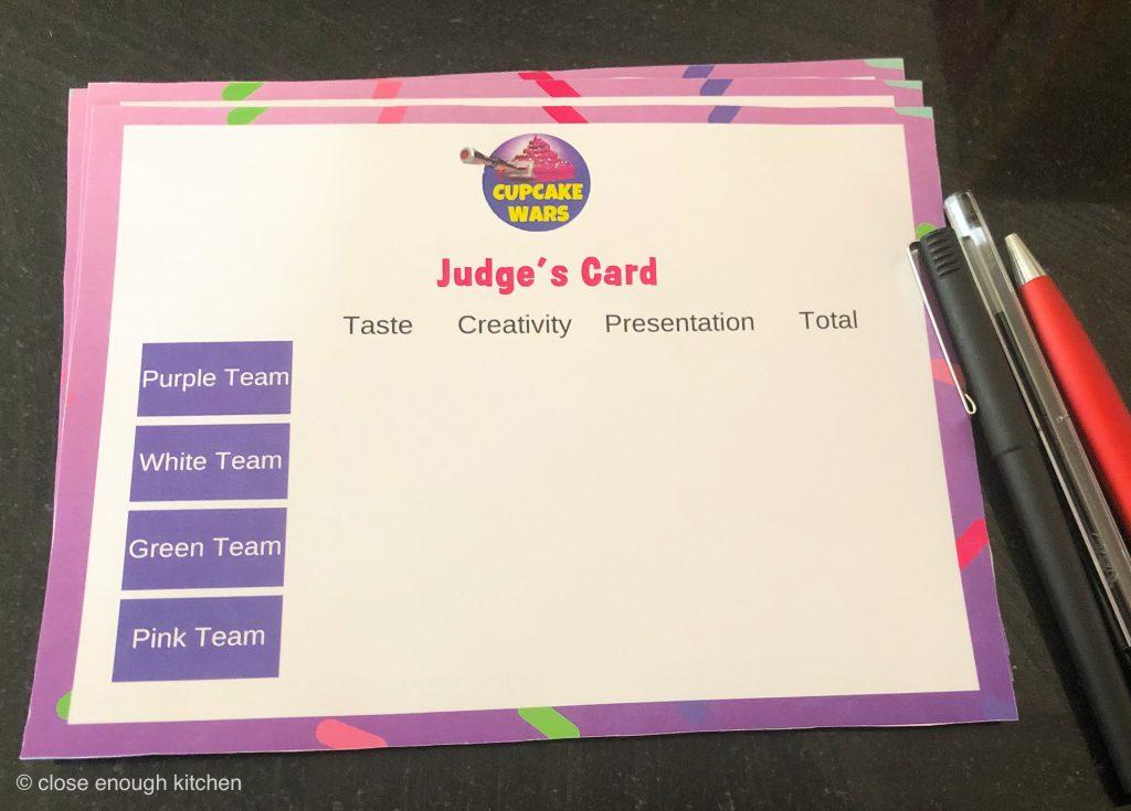 Cupcake Wars Judging Card